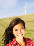 Wind turbine woman Stock Photography