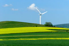 Wind turbine on a yellow-green field. Windmill over rape field in bloom Stock Photo