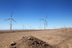 Wind turbinea in the desert Stock Photo