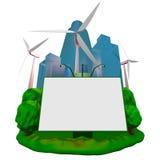 Wind-Turbinen und Anschlagtafel Stockbild