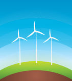 Wind Turbines. The background color on top of wind turbines Stock Images