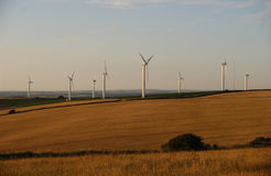 Wind Turbines. In a field Royalty Free Stock Photos