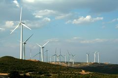 Wind turbines. Wind Electric farm - Electric mill landscape royalty free stock photos