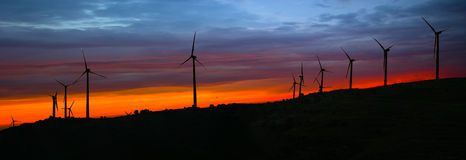 Wind turbines. Silhouettes of wind turbines at sunset - the colors manipulated stock photography