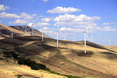 Wind turbines. Wind turbines along the Washington & Oregon state near Maryhill  museum of art in the Columbia River Gorge Stock Image