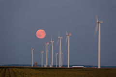 Wind Turbines. Moonrise over a wind farm at twillight Royalty Free Stock Images