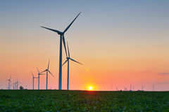Wind Turbines. In a field at sunset Royalty Free Stock Photos