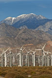 Wind Turbines. Wind Turbine farm located on California desert surrounded by mountains Stock Photography