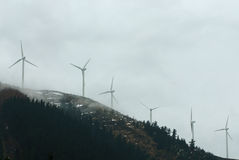 Wind turbines. At eolic park Royalty Free Stock Images