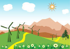 Wind turbines. Colorful illustration with wind turbines planted on a hill near a yellow path. Energy concept Royalty Free Stock Photography