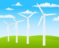 Wind turbines. Illustration of wind turbines on background Stock Photo