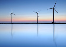 Wind turbines. At night with very calm weather Stock Photos