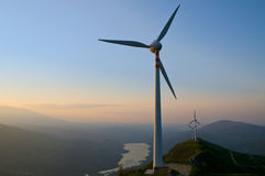 Wind turbines. Alternative energy in Abruzzo Stock Photography