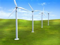 Wind turbines. Alternative energy sources. Wind turbines in a grass field. Digital illustration Royalty Free Stock Photos