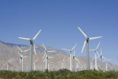 Wind Turbines. Rows of hundreds of wind turbines at the San Gorgonio Pass wind farm near Palm Springs, California, USA Stock Photos