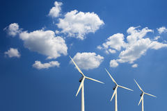 Wind turbines. And cloudy sky Royalty Free Stock Photography