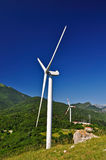 Wind Turbines. Wind power is the conversion of wind energy into a useful form of energy, such as using wind turbines to make electricity Royalty Free Stock Photo