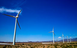 Wind turbines. On the Gobi Desert Royalty Free Stock Photo