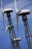 Wind turbines. Against cloudy sky Stock Photo