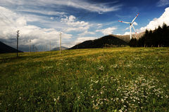 Wind turbines. In the countryside stock photo