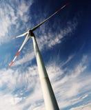 Wind turbines. Against a blue sky stock photos