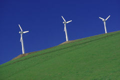 Wind Turbines. On a hill, Altamont Pass, California Royalty Free Stock Photos