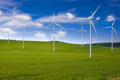 Wind turbines. In the field, alternative energy source Stock Image