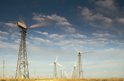 Wind turbines. Alternative energy source Environment royalty free stock photography