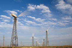 Wind turbines. Alternative energy source Environment Stock Photos