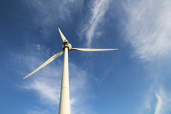 Wind Turbines. A windmill with blue sky in a sunny day Stock Images