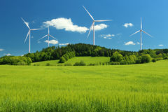 Wind turbines. Summer mountain landscape, alternative energy source Stock Photography