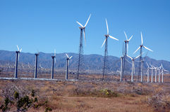 Wind turbines 3. Field of wind turbines royalty free stock photo