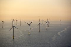 Wind turbines. Offshore aerial view of wind turbines Royalty Free Stock Photography