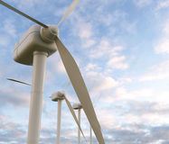 Wind turbines 3D render Royalty Free Stock Image