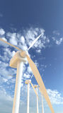 Wind turbines 3D render Stock Photo