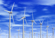 Wind turbines. 3D generated image Royalty Free Stock Photos