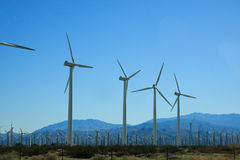 Wind turbines. Line of wind turbines in desert Stock Images