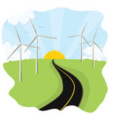 Wind Turbines. An abstract landscape with wind/ power turbines Stock Image