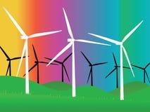 Wind turbines. Illustration of wind turbines eolic energy Stock Image