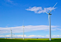 Wind Turbine Farm with Blue Sky Royalty Free Stock Images