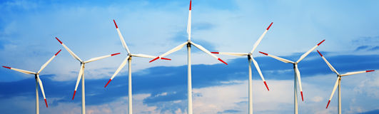 Wind Turbines against sky Stock Images