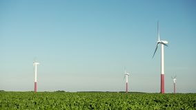 Wind turbines in an agricultural field against a blue sky stock video footage