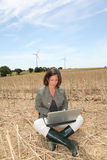 Wind turbines and agriculture Royalty Free Stock Photos