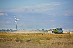 Wind turbines and agriculture. Wind turbines. Alternative energy source Stock Image