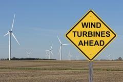 Wind Turbines Ahead Royalty Free Stock Photos