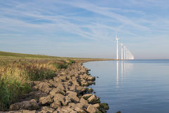 Wind turbines along Dutch coast near Urk Stock Images