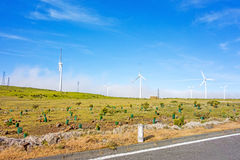 Wind turbines along road - blue sky Royalty Free Stock Photography