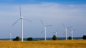 Wind turbines alternative energy Royalty Free Stock Photo