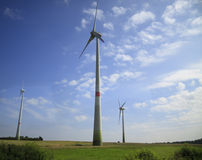 Wind turbines - alternative energy sources Royalty Free Stock Images