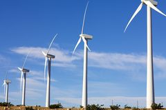 Wind Turbines on Alternative Energy Windmill Farm Stock Photo